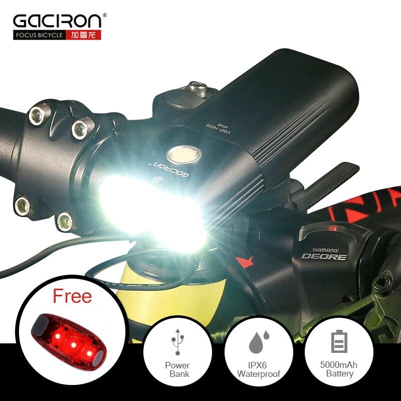 Gaciron 1600 lumens luz da bicicleta mtb farol banco de potência à prova dusb água usb recarregável lâmpada da bicicleta estrada lanterna livre luz da cauda