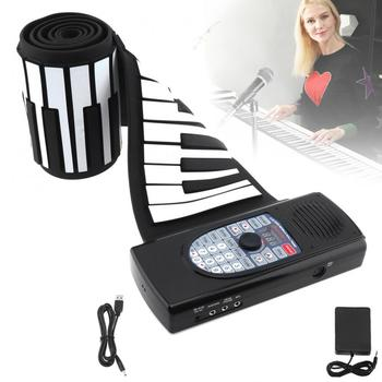 88 Keys MIDI Roll Up Piano Rechargeable Electronic Silicone Flexible Keyboard Organ Built-in Speaker Support Bluetooth