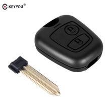 KEYYOU-carcasa para mando a distancia para coche, funda para mando a distancia con 2 botones, para Citroen Xsara Picasso Berlingo 2002 2003 2004 2005 2006 2007 2008