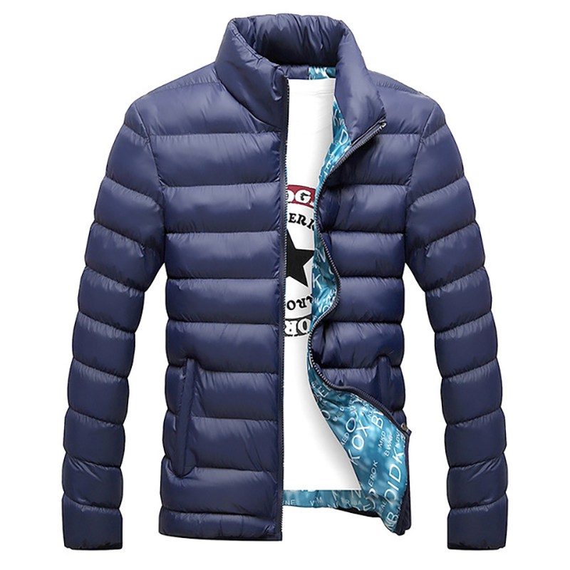 Mens Plus Size Winter Coat Cotton Casual Stand Thick Bubble Coat Parkas Overcoat Warm Puffer Coat Fashion Streetwear Overcoat