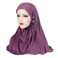 Малайзийский мусульманский хиджаб шарф твердый хлопок цветок алмаз шаль женский головной платок готов носить хиджаб мусалман женский газовый шарф