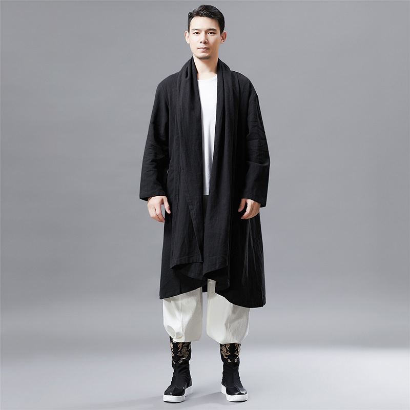 Retro Embroidered Facial Makeup MEN'S Duster Ethnic-Style Men'S Wear Factory Casual   Trench   Coat Cardigan a Generation of Fat