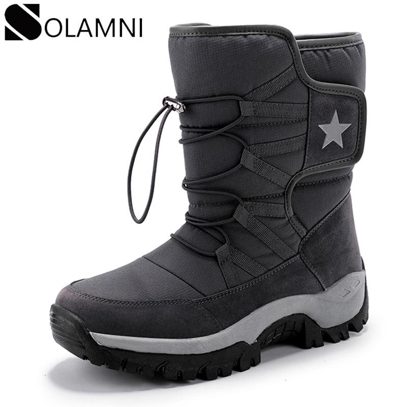 Мужские Водонепроницаемые зимние ботинки на меху, черные Нескользящие ботинки на толстой плюшевой подкладке