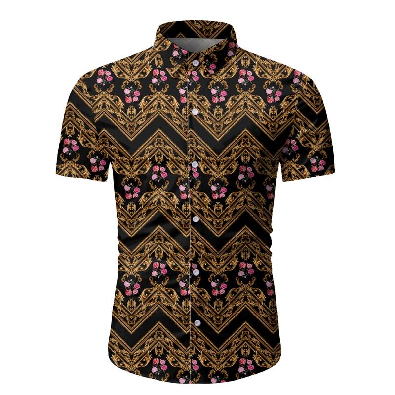 2020 High Quality Mens Shirts Casual Slim Black Short Sleeve Shirts Men Dress Camisa Social Masculina Fashion Plus Size