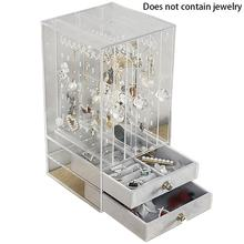 Multifunctional Jewelry Storage Box Plastic Transparent Dust Earrings Finishing Box Desktop Vertical Lagerung Rack