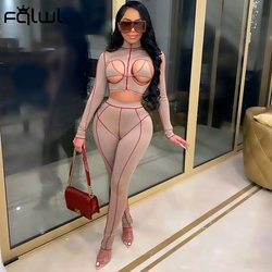 FQLWL 2021 Long Sleeve Hollow Out Sexy Crop Top High Waist Leggings 2 Two Piece Set Women Clubwear Bodycon Outfits Matching Sets