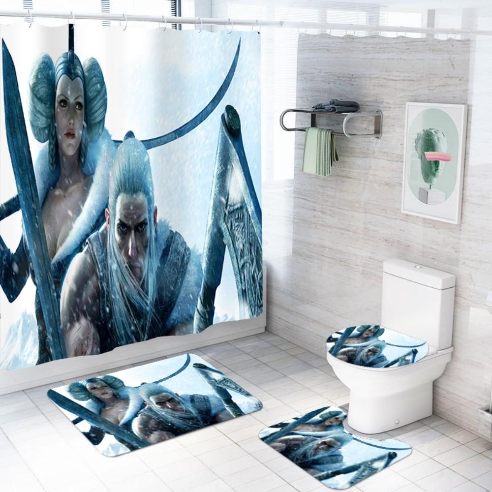US $6.6 6% OFFWaterproof Bathroom Set Game Character Polyester Shower  Curtain Bathroom with Hooks Toilet Lid Cover U Shape Rugs MatsBathroom