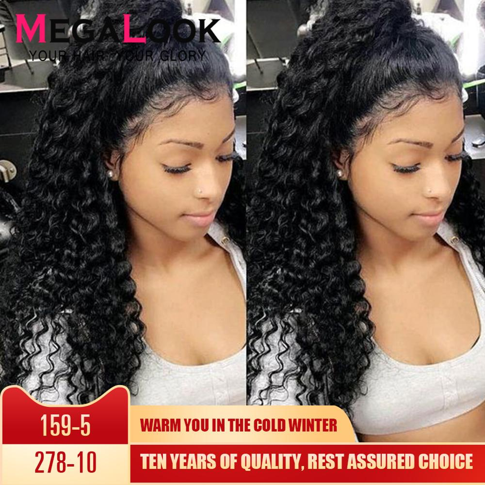 Megalook Deep Wave Wig 360 Lace Frontal Wig Remy Human Hair Wigs 360 Lace Frontal Wig Pre Plucked With Baby Hair Peruvian Wig