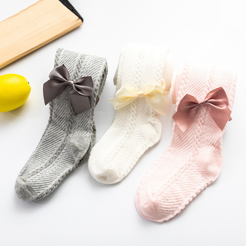 Весенне-Осенние Колготки для маленьких девочек от 0 до 4 лет, сетчатые колготки с красивым бантом для новорожденных, хлопковые облегающие ко...