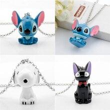 Cartoon Alien Lilo Stitch Necklace Anime Kikis Black Cat JIJI Cute Friendship Pendant 3D Jewelry Gift for Women/Kids