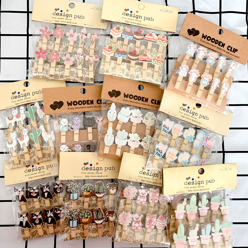 Wall-Decoration Wooden-Clip Photo Animal-Plant Various Cartoon English 10pcs/Pack