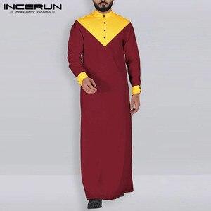 Image 3 - Incerun アラビアイスラム教徒男性スタンド襟パッチワークレトロ jubba トーブ長袖男性インドの服ローブ S 5XL 2020