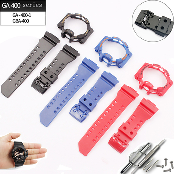 купить Watch accessories 16mm for Casio strap G-SHOCK GA-400 GBA-401 pin buckle men's and women's resin rubber sports watch case в интернет-магазине