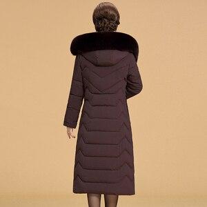 Image 5 - 2020 Mùa Đông Ấm Áp Áo Khoác Nữ Plus Kích Thước 5XL 6XL Nữ Dài Parkas Mũ Trùm Cổ Lông Trơn Nữ Xuống Cotton áo Khoác Áo Khoác Mùa Đông
