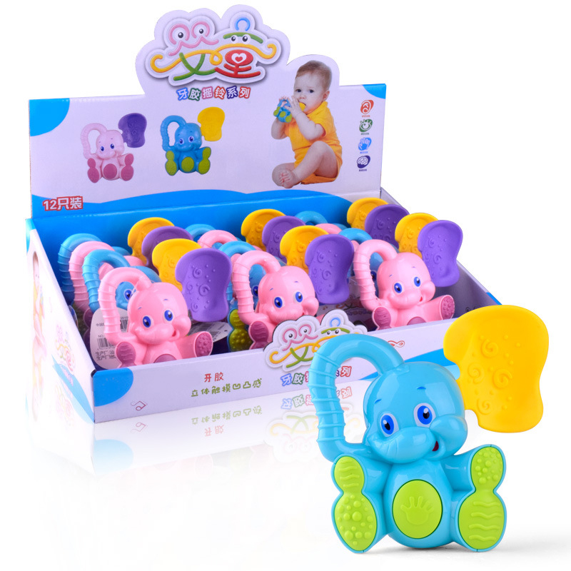 Teether Music Educational Rattles For Babies Elephant Baby Baby Cartoon Bell Jingle Animal Ring Baby Cute Hand Rattle Teether