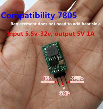Bloque regulador de voltaje de tres extremos súper pequeño de 5V/1A, reemplaza entrada LM7805 de 5,5-32V con fuente de alimentación de alta eficiencia y baja temperatura