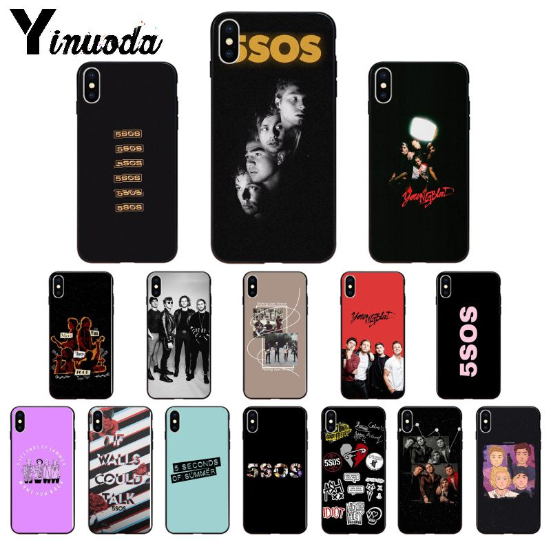 Yinuoda 5SOS 5 Seconds Of Summer TPU Soft Phone Accessories Phone Case For IPhone X XS MAX 6 6S 7 7plus 8 8Plus 5 5S XR