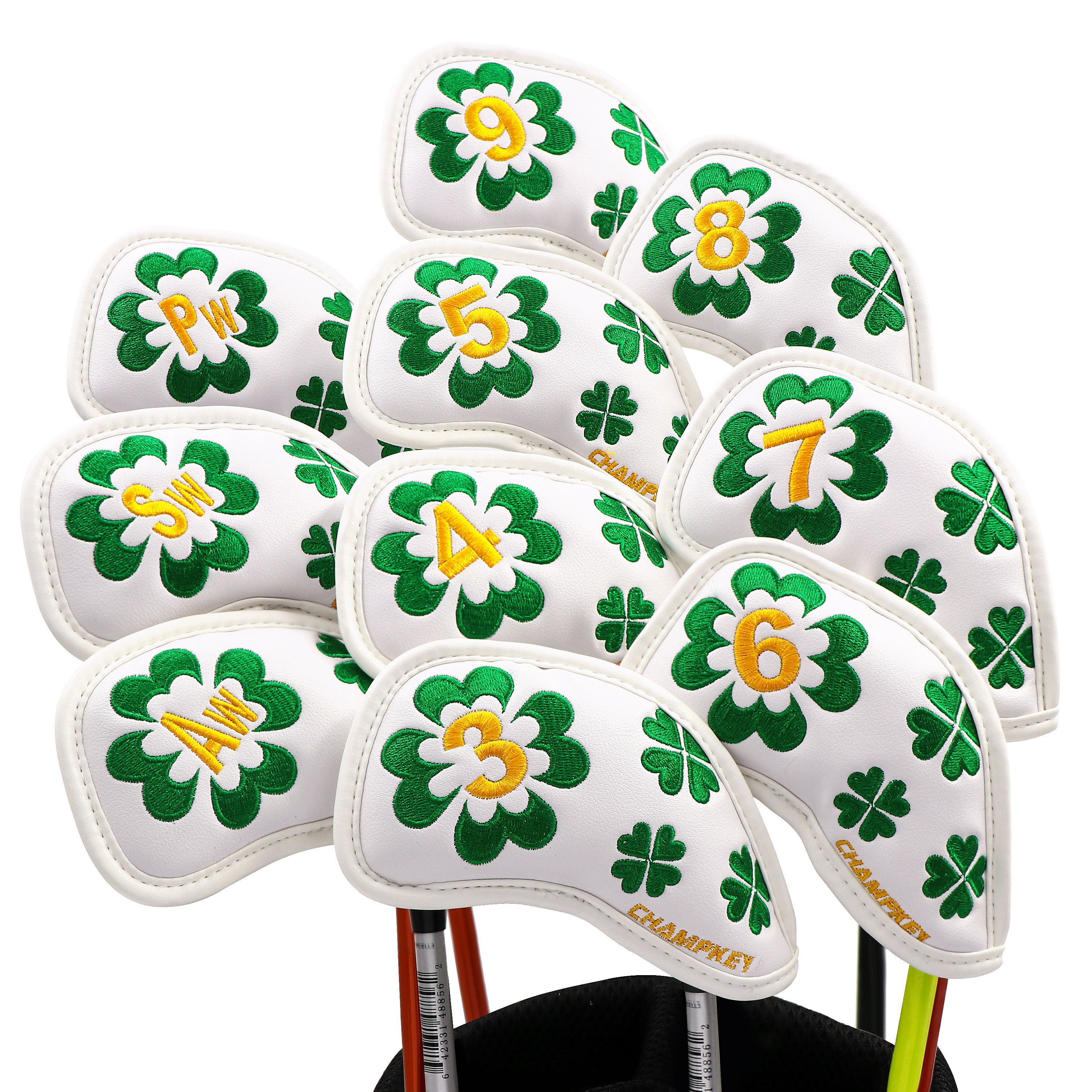 NEW Champkey 10pcs/set Clover PU Leather Golf Iron Headcover Iron Club Covers Set 2 Colors For Choice