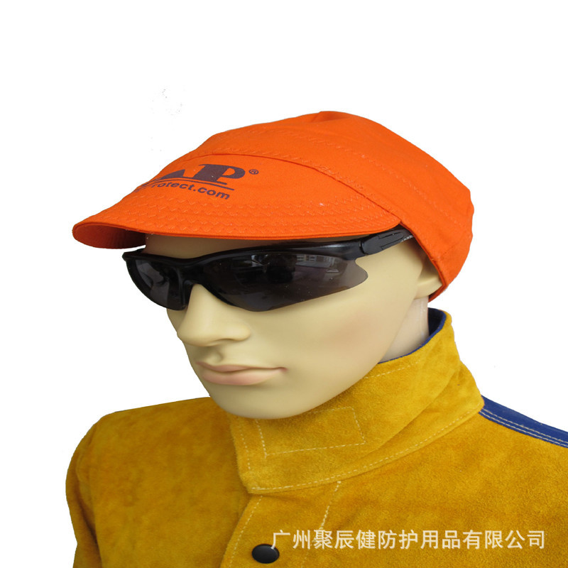 Umeng AP-6630 Orange-red Flame Retardant Cloth Cap Pad Wear-Resistant Comfortable Welding Cap Welder Casual Brim Hat