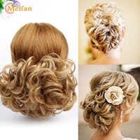 MEIFAN Kurze Lockige Synthetische Chignon für Frauen Elastische Gummiband Kämme Haarteile Chaotisch Gefälschte Haar Brötchen Haar Extensions