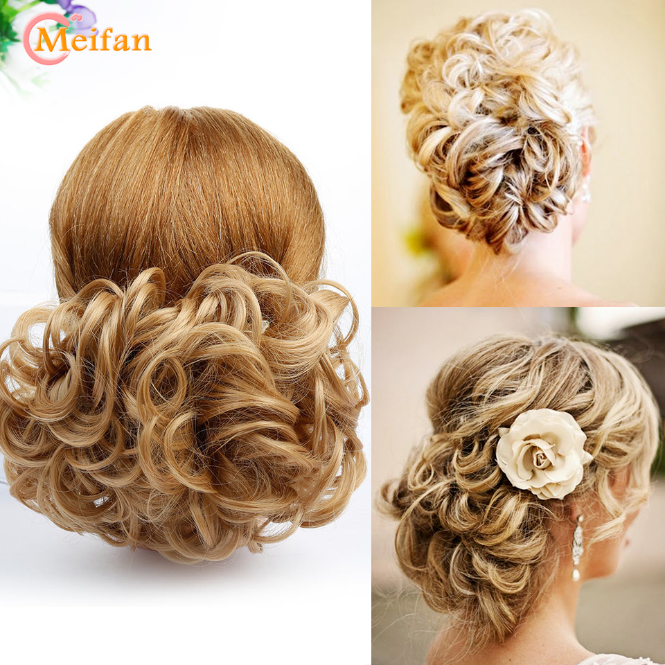 MEIFAN Short Curly Synthetic Chignon For Women Elastic Rubber Band Combs Hairpieces Messy Fake Hair Bun Hair Extensions