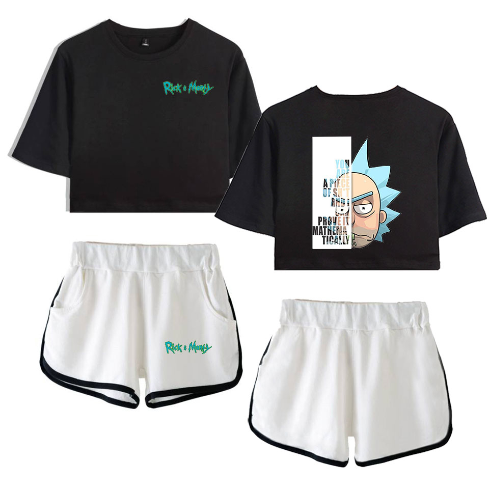 Rick And Morty Women Two Piece Set Women Fashion Summer Short Sleeve Crop Top+Shorts 2019 New Arrival Hot Sale Trendy  Clothes