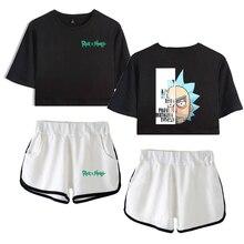 Rick and Morty Women Two Piece Set Women Fashion Summer Short Sleeve Crop