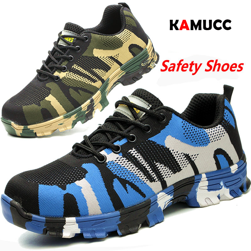 Work Boots Construction Men's Outdoor Steel Toe Cap Shoes Men Camouflage Puncture Proof High Quality Safety Shoes Plus Size36-47