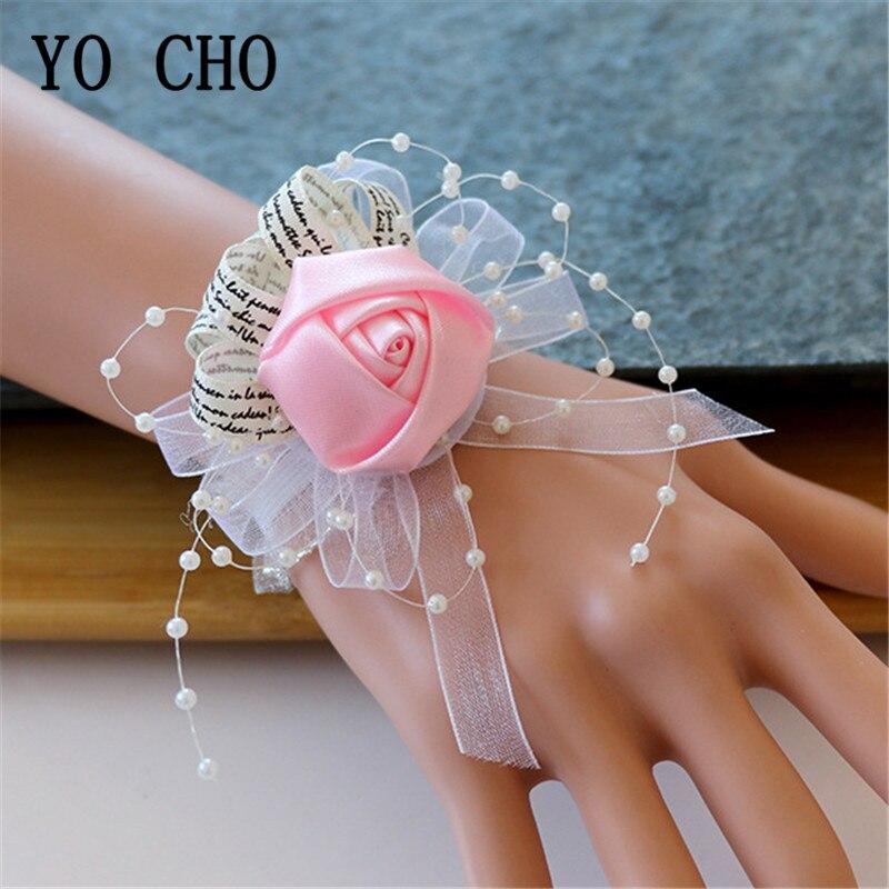 YO CHO Silk Flower Cuff Bracelets Bridesmaid Wrist Corsages Wedding Corsage Bracelet Bridal Corsages Wedding Bracelets For Women