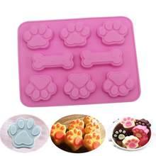Bolo diy decoração moldes de cozimento molde de silicone filhote de cachorro pata e osso bakeware pegada do gato do cão formas bolo moldes biscoito