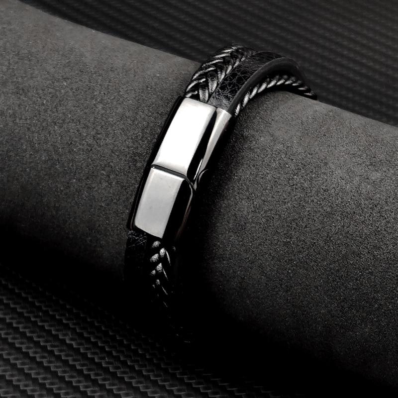 MingAo-Bracelets Chakra en acier inoxydable pour hommes, breloque Punk de Tennis, noir, bijoux de noël, Bracelets pour femme 3