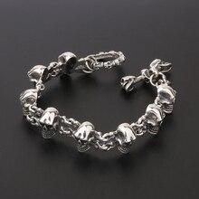 925 стерлингового серебра Панк Рок Череп Шарм ручной цепи S925 браслет