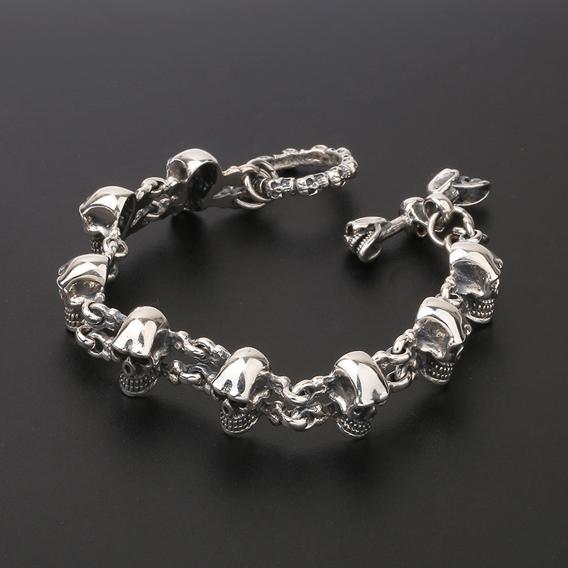 925 Sterling Silver Punk Rock Skull Charm Hand Chain S925 Bangle Bracelet-in Chain & Link Bracelets from Jewelry & Accessories