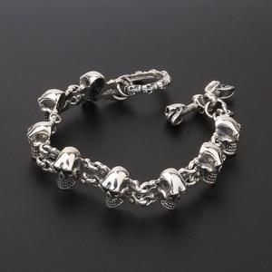 Image 1 - 925 Sterling Silver Punk Rock Skull Charm Hand Chain S925 Bangle Bracelet