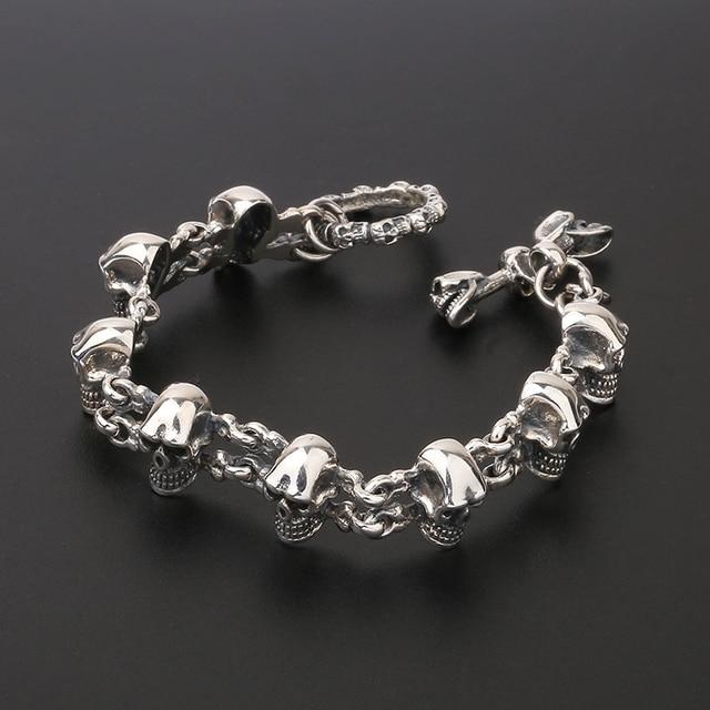 925 Sterling Silver Punk Rock Skull Charm Hand Chain S925 Bangle Bracelet