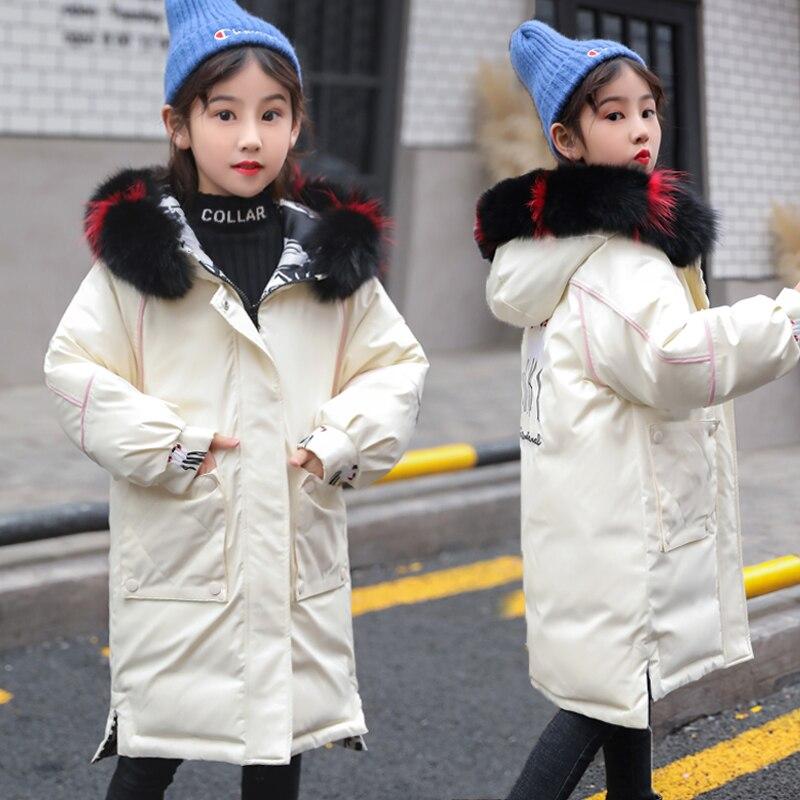 OLEKID-veste d'hiver 30 degrés filles Cartoon Graffiti doudoune à capuche pour filles 5-16 ans enfants manteau réversible adolescent