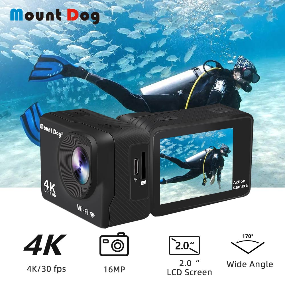 Mountdog Action-Camera Video Remote-Control Wifi Waterproof Sports Ultra-Hd 4K with Recoding