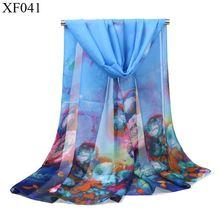 Высококачественный шифоновый шелковый шарф Осенний женский с