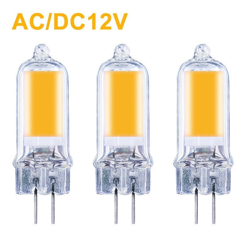 Lâmpada led de alto brilho g4, cob, 3w, 4w, 6w, 8w, ac/dc, 12v, energia lâmpada regulável para economia de proteção ambiental, iluminação doméstica