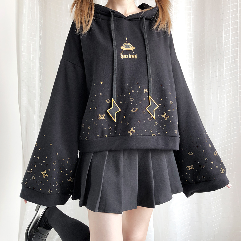 2019 Autumn Winter Black Flare Sleeve Thick Hoodies Japanese Lolita Girl Starry Sky Print Student Long Sleeve Sweatshirt Gothic
