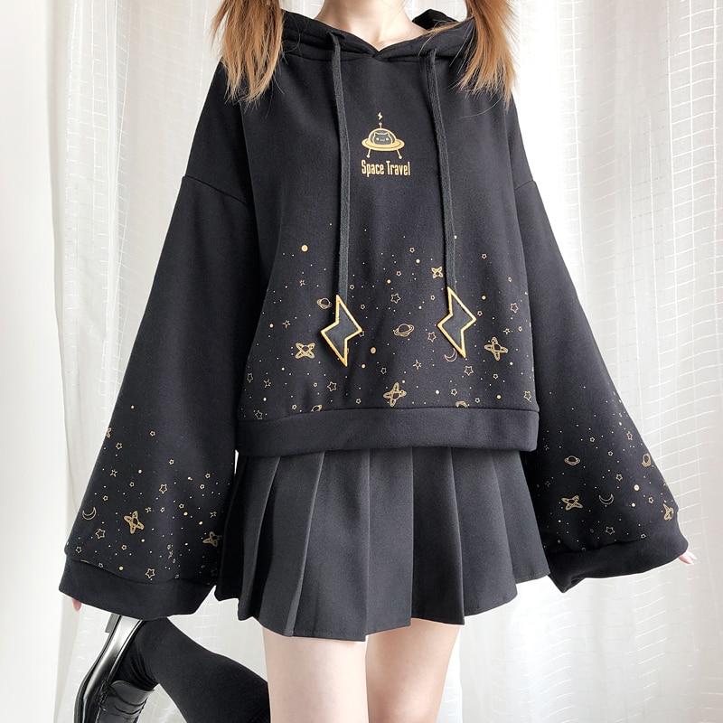 2019 Autumn Winter Black Flare Sleeve Thick Hoodies Japanese Lolita Girl Starry Sky Print Student Long Sleeve Sweatshirt Gothic