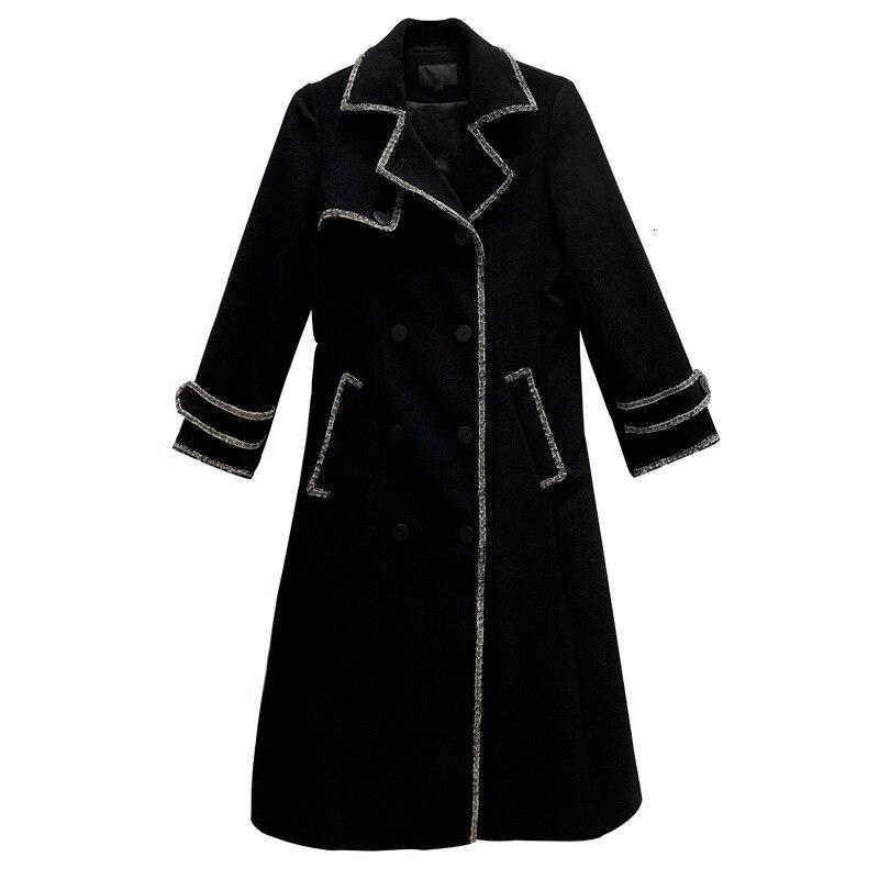 Shengpalae 2020 Nieuwe Mode Herfst Winter Overjas Voor Vrouwen Lange Met Riem Solid High Street Trendy Wollen Jas Vrouwelijke A841 - 6
