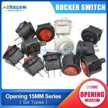 KCD1 15 Mm AC 3A/250V 6A/125V Perahu Rocker Switch On-Off 2 File 2/3 Tembaga Kaki Tombol Beralih dengan Lampu LED(China)