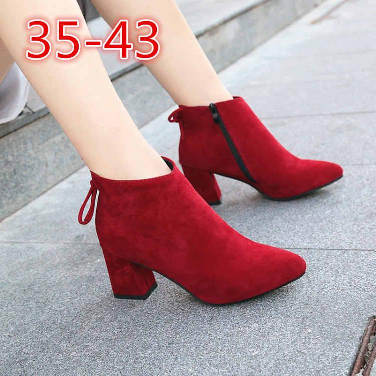 Neue Frauen Kurze Stiefel Weibliche Spitz Starke Ferse High Heel Stiefeletten Flock Zipper Einzigen Stiefel Herbst Größe 34 -42