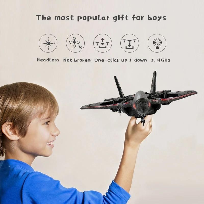 RC avion de chasse à aile fixe Drone modèle avion électrique RTF Epp mousse télécommande quadrirotor planeur avion garçons cadeau 2