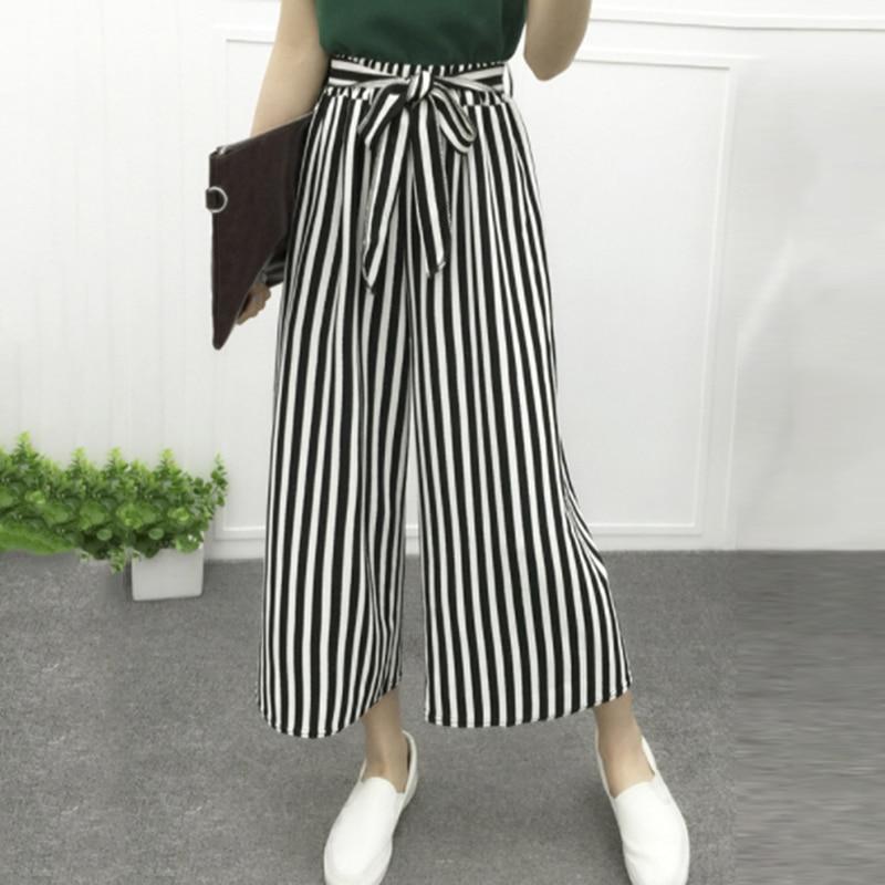 Женские повседневные свободные широкие брюки в полоску, женские элегантные модные брюки, женские однотонные женские новые брюки палаццо
