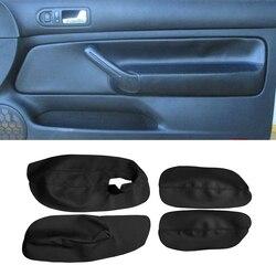 Apenas 3 portas capa de braço do carro para vw golf 4 mk4 bora jetta 1999 - 2005 microfibra couro porta braço painel capa adesivo guarnição