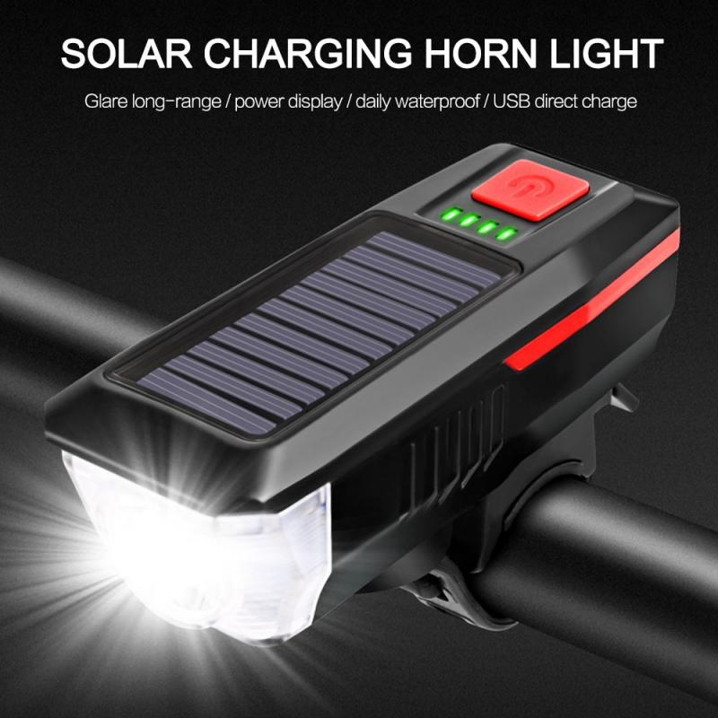 Зарядное устройство на солнечной батарее для велосипеда светильник со звуковым сигналом Usb Перезаряжаемые T6 светодиодный горный велосипед...