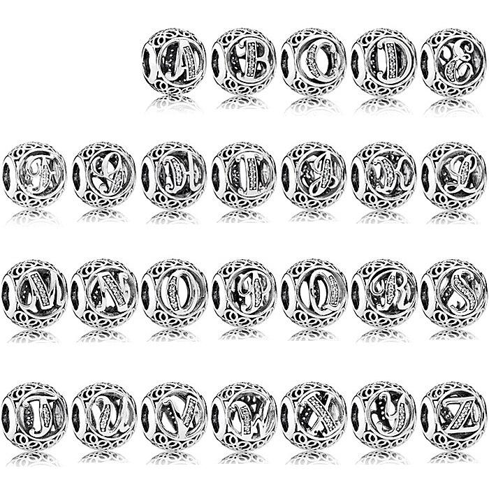 PDB ZZ  56 100% 925 Sterling Silver Bracelet Charm Bracelet 925 Silver 26 Letters Original Charm Beads.