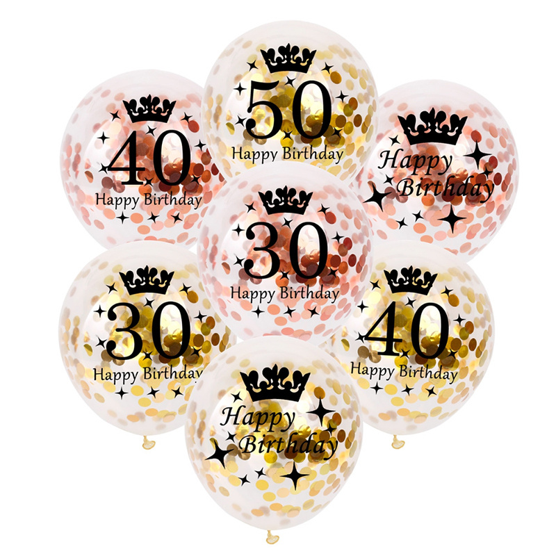 10Pcs 12inch Rose Gold Latex Balloons Air Black 30 40 50 60 <font><b>70</b></font> Years Happy <font><b>Birthday</b></font> Party <font><b>Decorations</b></font> Adult Foil Helium Balloon image